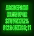 retro green neon alphabet with numbers on dark vector image vector image