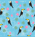 Seamless pattern with hand drawn toucan on white