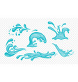 set blue water splashes and vector image