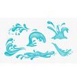 set blue water splashes vector image