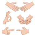 Set of cartoon Hands Icons for business vector image vector image