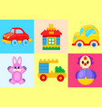 toys collection isolated on colorful backgrounds vector image vector image