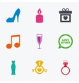 Wedding engagement icons Ring with diamond vector image vector image