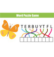 words puzzle children educational game place the vector image vector image