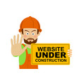 workerman with website under construction banner vector image vector image
