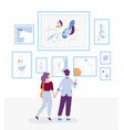 young couple visiting art gallery and looking at vector image