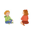 flat boy girl sitting listening attentively vector image