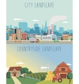 set of urban and countryside landscapes vector image