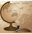 Geographic vintage background with globe feather vector image