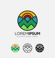 abstract geometric colorful volcano mountain logo vector image