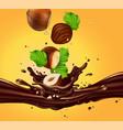 Background for advertising chocolate hazelnuts