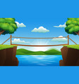 background scene with bridge across the stream vector image vector image