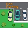 Bad parking Top view of a car parked on the lawn vector image vector image