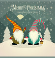 beautiful retro christmas card with gnomes vector image vector image