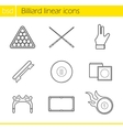 Billiard accessories linear icons set vector image vector image