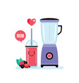 blender and glass of fresh berry smoothie vector image