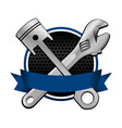 blue ribbon wrench and piston cross racing emblem vector image