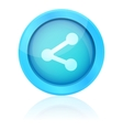 Blue share icon with reflection vector image vector image