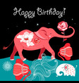 bright greeting card with a red elephant on a vector image