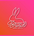 bunny brunch linear lettering vector image vector image