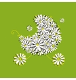 Camomile baby pram sketch for your design vector image vector image