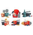 cartoon cinema movie projector 3d cinema glasses vector image