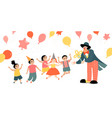 children party with a cheerful clown vector image vector image