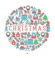 christmas celebration concept with thin line vector image vector image