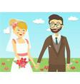 closeup wedding couple in garden vector image
