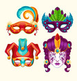 collection cartoon carnival masks decorated vector image vector image