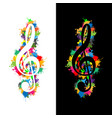 colorful violin key vector image vector image