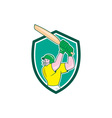 Cricket Player Batsman Batting Shield Cartoon vector image vector image