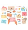 different envelopes letter in envelope postcard vector image