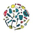 doodle cartoon kitchen elements vector image vector image