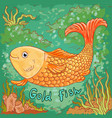 doodle gold fish sea background vector image