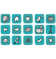 doodle icon set website vector image vector image