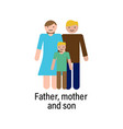 father mother and son icon can be used for web vector image
