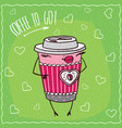female paper cup of coffee smiles vector image