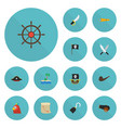 flat icons ship steering wheel pirate hat banner vector image vector image