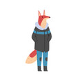 fox wearing warm jacket and jeans humanized vector image