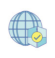 global connect with shield to security information vector image