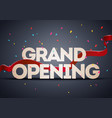 grand opening ceremony poster with red ribbon vector image vector image