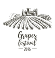 Grapes festival Lodge with vineyards vector image
