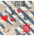 Grunge nautical pattern vector image vector image