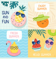 hello summer poster funny fruits pineapple in vector image