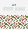 japanese food concept with thin line icons vector image