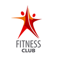 logo for fitness in the form of a red star vector image vector image
