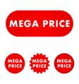 mega price button vector image vector image