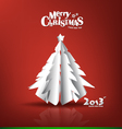 Merry Christmas postcard with origami xmas tree vector image