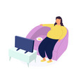 obese young woman fat girl sitting on couch and vector image